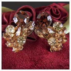 Vintage Prong Set Rhinestone Clip Earrings - Earth Tones Greens and Browns