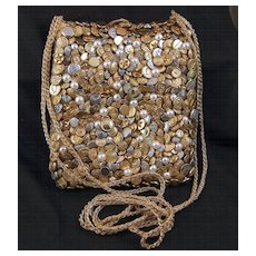 Vintage Gold Toned, Silver Toned and Faux Pearls Crochet Button Purse / Handbag