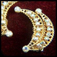 Vintage Sparkling Prong Set Aurora Borealis Rhinestone Ear Hugger Clip Earrings - Gold Toned