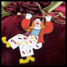 Vintage signed Sara Coast Enamel on Copper Sliding Clown Gold Filled Necklace