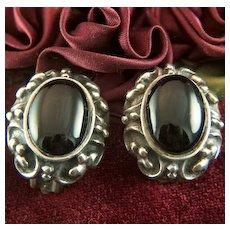 Vintage Sterling Silver Black Onyx Cabs Clip Earrings