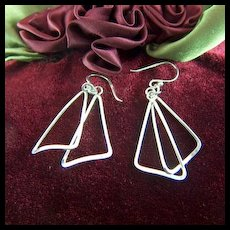 Vintage Flirty Sterling Silver Free Form Triangle Drop Earrings - French Wires