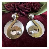 Vintage signed LATON Taxco Mexico Sterling with Brass Round Drop Earrings - Pierced