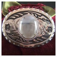 Vintage LARGE Indian Agate Belt Buckle