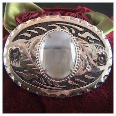 Vintage LARGE Indian Agate Belt Buckle