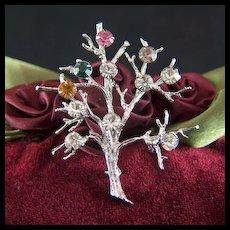Vintage Sterling Silver Tree of Life Rhinestone Brooch Pin