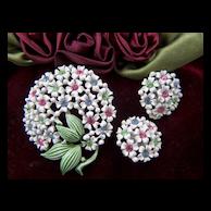 Vintage Enamel Rhinestone Flower Brooch Pin and Clip Earrings Set