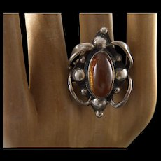 Vintage Artisan Made Sterling Silver and Russian Amber Ring - Size 8