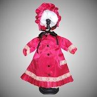 "Vintage Redingote coat-dress and hat for 16"" doll"