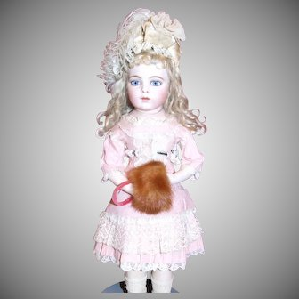 Vintage natural mink muff for doll
