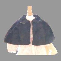 Antique black faux fur doll cape