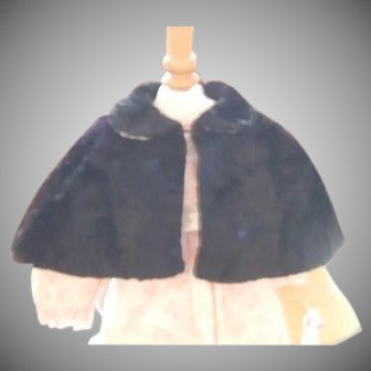Vintage black faux fur doll cape