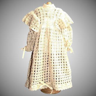 Vintage crocheted doll dress, cotton, for size 26-28 chunky body doll