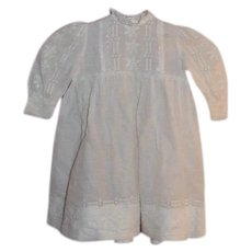 1890's White toddler dress with Swiss machine embroidery+hand sewing