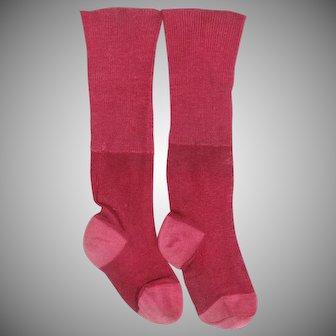 Antique pair cherry red silk doll socks
