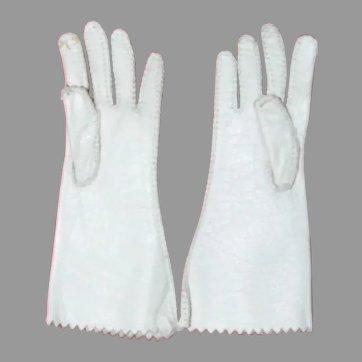 Antique pair white French fashion kid doll gloves
