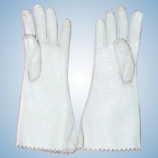 Antique pair white kid doll gloves