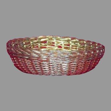 Miniature hand-woven brass wire vintage basket