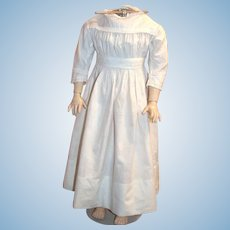 Antique dress for large doll, white cotton