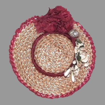 """Antique straw and silk hat 7-3/4"""" to 8'' HC"""