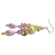 Pastel Pink Yellow Purple Green Swarovski Crystal and Faux Pearl Long Cluster Earrings