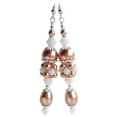 Rose Gold Colored Swarovski Faux Pearl and White Swarovski Crystal Long Cluster Earrings