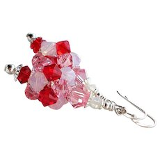 Red Pink and White Swarovski Crystal Sterling Silver Cluster Bead Earrings