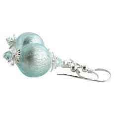 Aqua Blue Murano Glass Earrings With 24 KT White Gold Foil and Swarovski Crystals