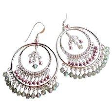 Big Silver Colored Hoop Chandelier Earrings Swarovski Pink Faux Pearls and Crystals