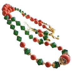 Coral Colored Swarovski Faux Pearl Green Crystal Necklace Earrings Set