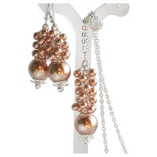Rose Gold Colored Swarovski Faux Pearl Cluster Necklace Earrings Set
