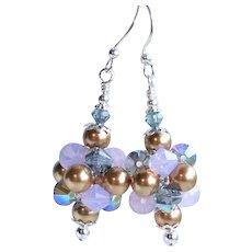 Purple Blue Swarovski Crystal and Faux Pearl Cluster Earrings
