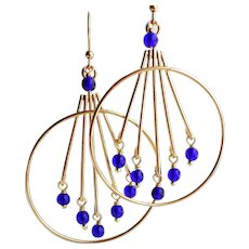 Gold Plated Large Hoop Chandelier Earrings With Cobalt Blue Beads