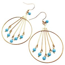 Gold Plated Large Hoop Chandelier Earrings With Turquoise Blue Colored Glass Beads