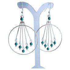 Large Silver Brass Hoop Chandelier Earrings With Swarovski Faux Pearls