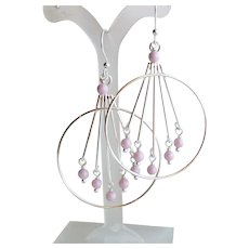 Silver Plated Brass Large Hoop Chandelier Earrings With Pink Swarovski Faux Pearls
