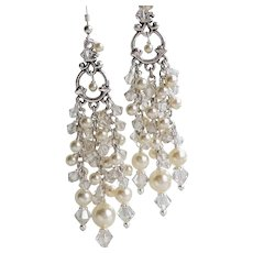 Swarovski Crystal and Faux Pearl Long Chandelier Earrings In Cream and Silver Tones