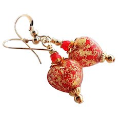 Red Heart Murano Glass Earrings with 24 KT Gold Foil and Czech Glass