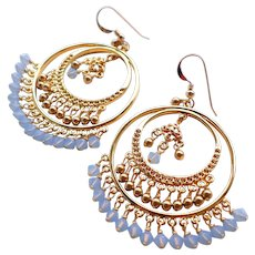 Swarovski Crystal and Faux Pearl Big Gold Brass Hoop Chandelier Earrings