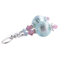Aqua Blue Murano 24 KT White Gold Foil Bead Earrings With Swarovski Crystals