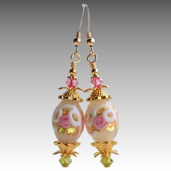 White and Pink Wedding Cake Style Murano Glass Drop Earrings