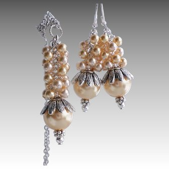 Swarovski Faux Pearl Cluster Necklace Earrings Set In Shades of Gold and Silver