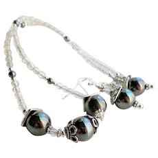 Gray Faux Shell Pearl Necklace and Earrings Set With Czech Glass
