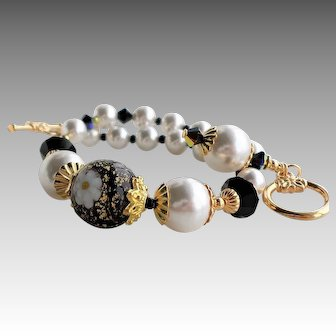 Murano Glass Bracelet In Black and White With White Swarovski Faux Pearls and Crystals