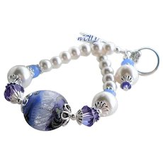 Murano Glass Bracelet In Blue and White with Swarovski White Faux Pearls and Crystals