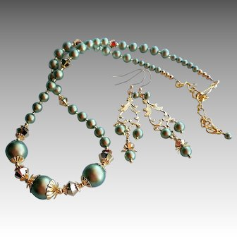 Green Swarovski Faux Pearl and Swarovski Gold Colored Crystal Necklace Earrings SET