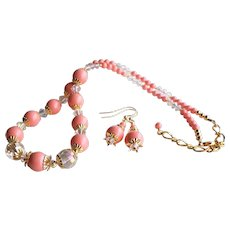 Pink Coral Colored Swarovski Faux Pearl Necklace SET With Swarovski Crystals