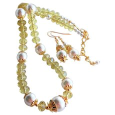 Yellow Crystal Necklace Earrings Set With White Swarovski Faux Pearls