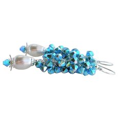 Turquoise AB Colored Swarovski Crystal White Faux Pearl Cluster Earrings