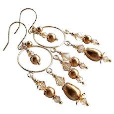 Gold Colored Swarovski Crystal and Faux Pearl Chandelier Hoop Earrings